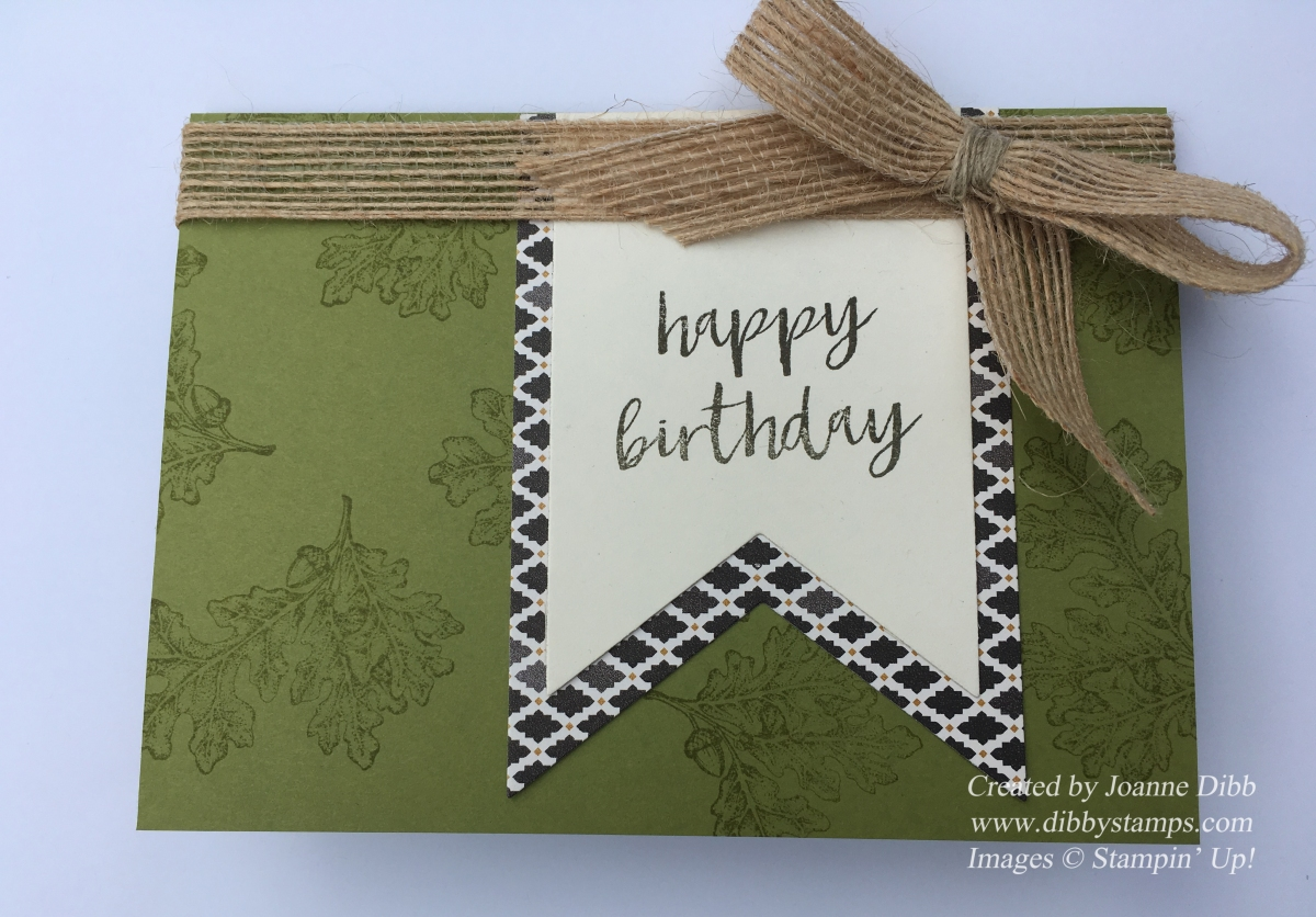 Old Olive Oak Leaf Birthday Card