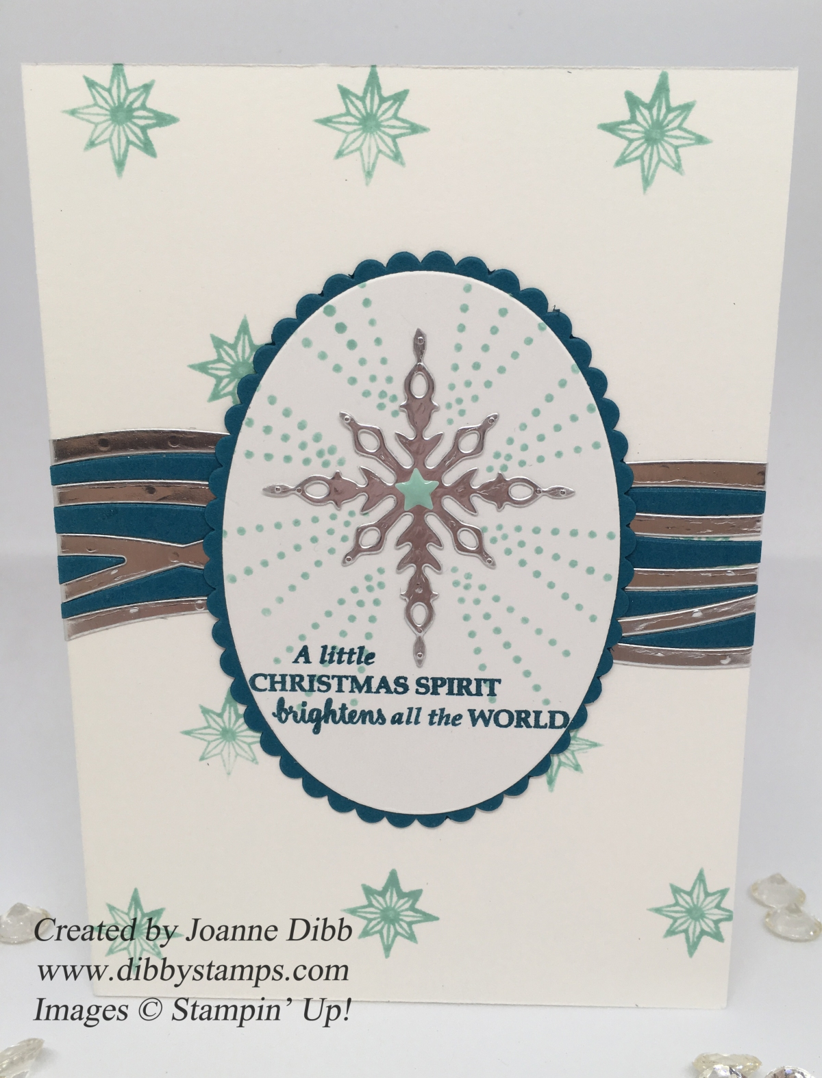 Blue & Silver Star Spirit Christmas Card