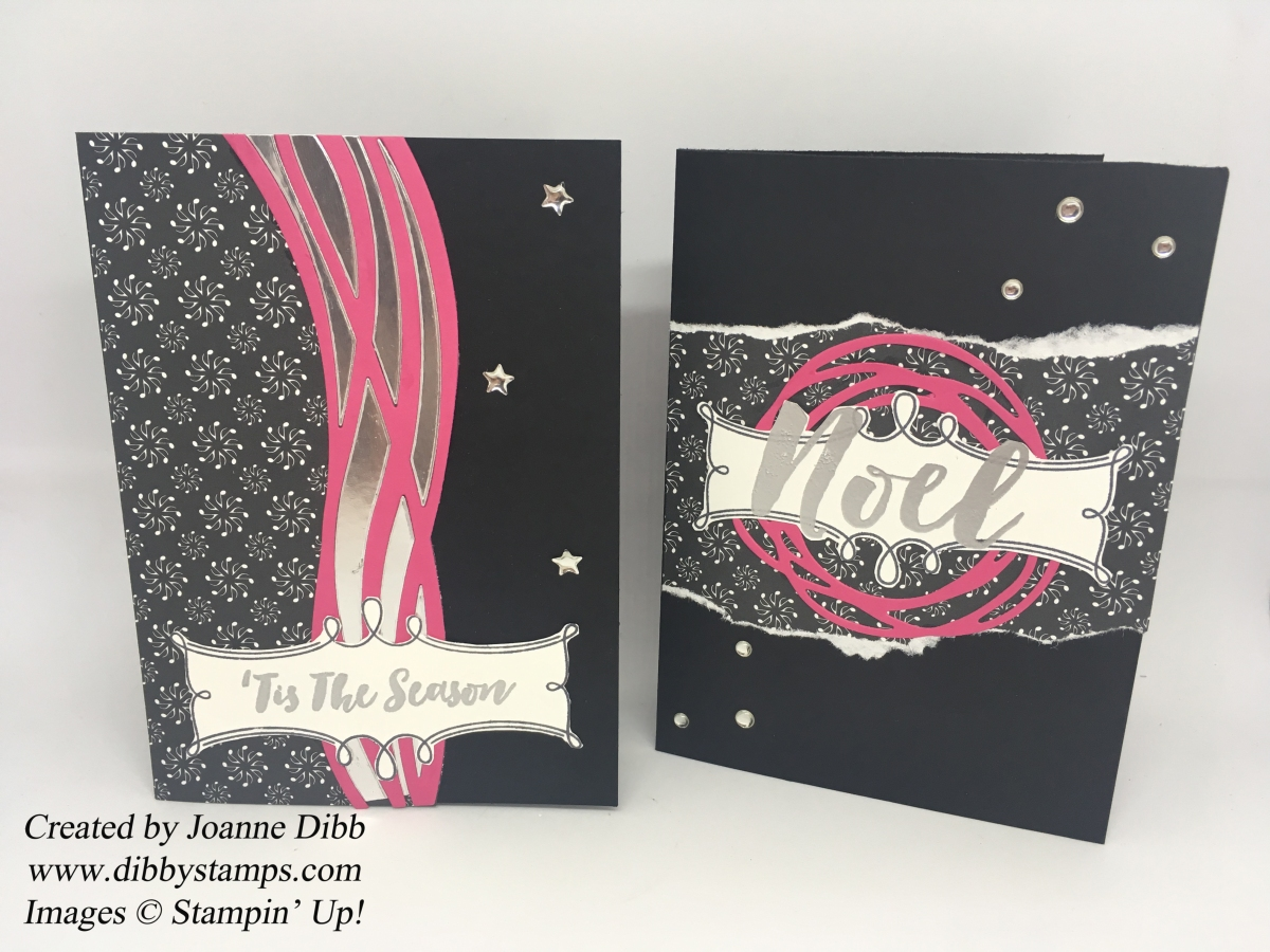 Modern Christmas Cards using Christmas Pines and Swirly Scribbles Dies from Stampin' Up!
