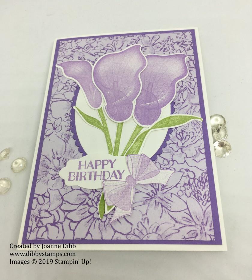 Lasting Lily Birthday Card in Highland Heather - flat