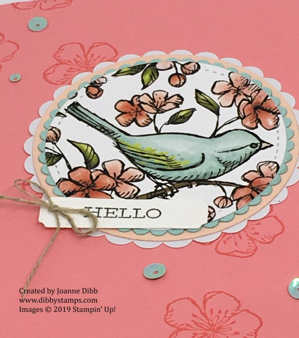 Flirty Flamingo Free as a Bird card - close up