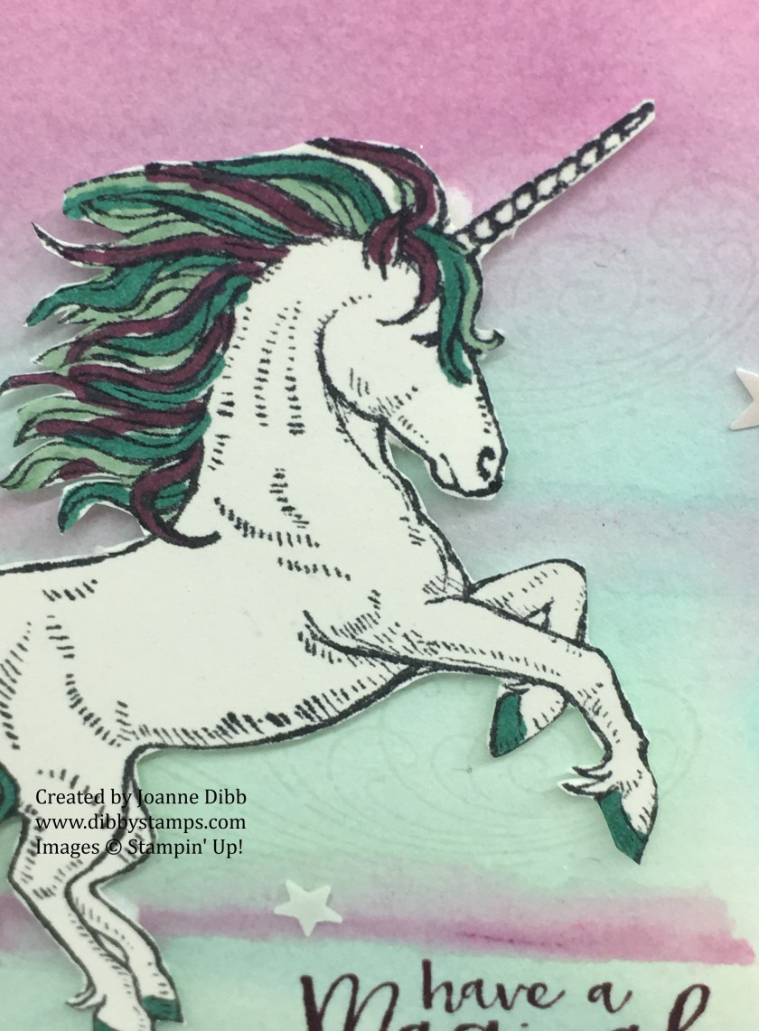 Magical unicorn birthday card close up