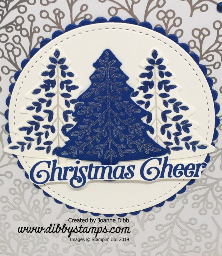 Blueberry Bushell Christmas Tree Card close up
