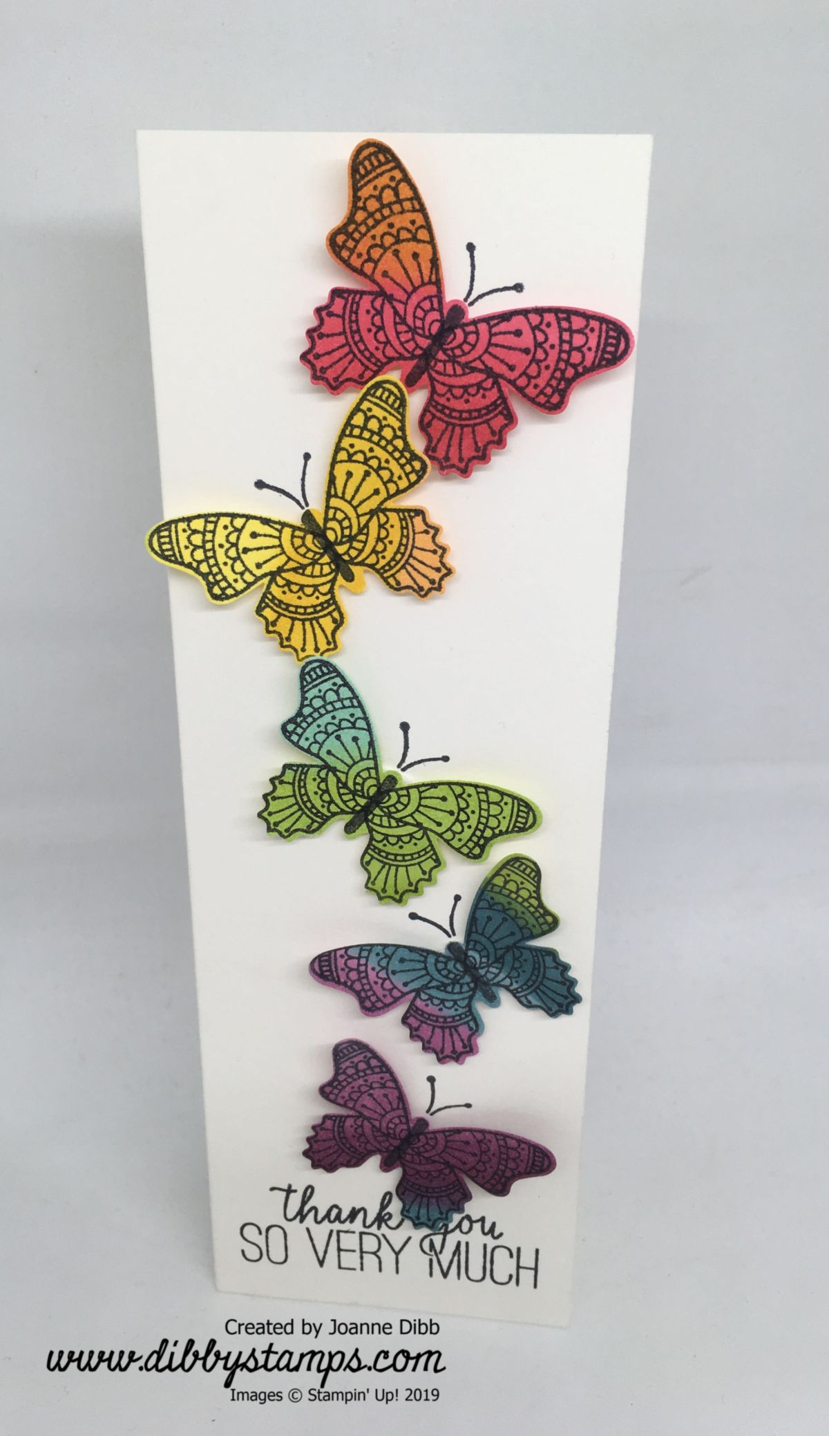 Rainbow Butterflies Thank You Card