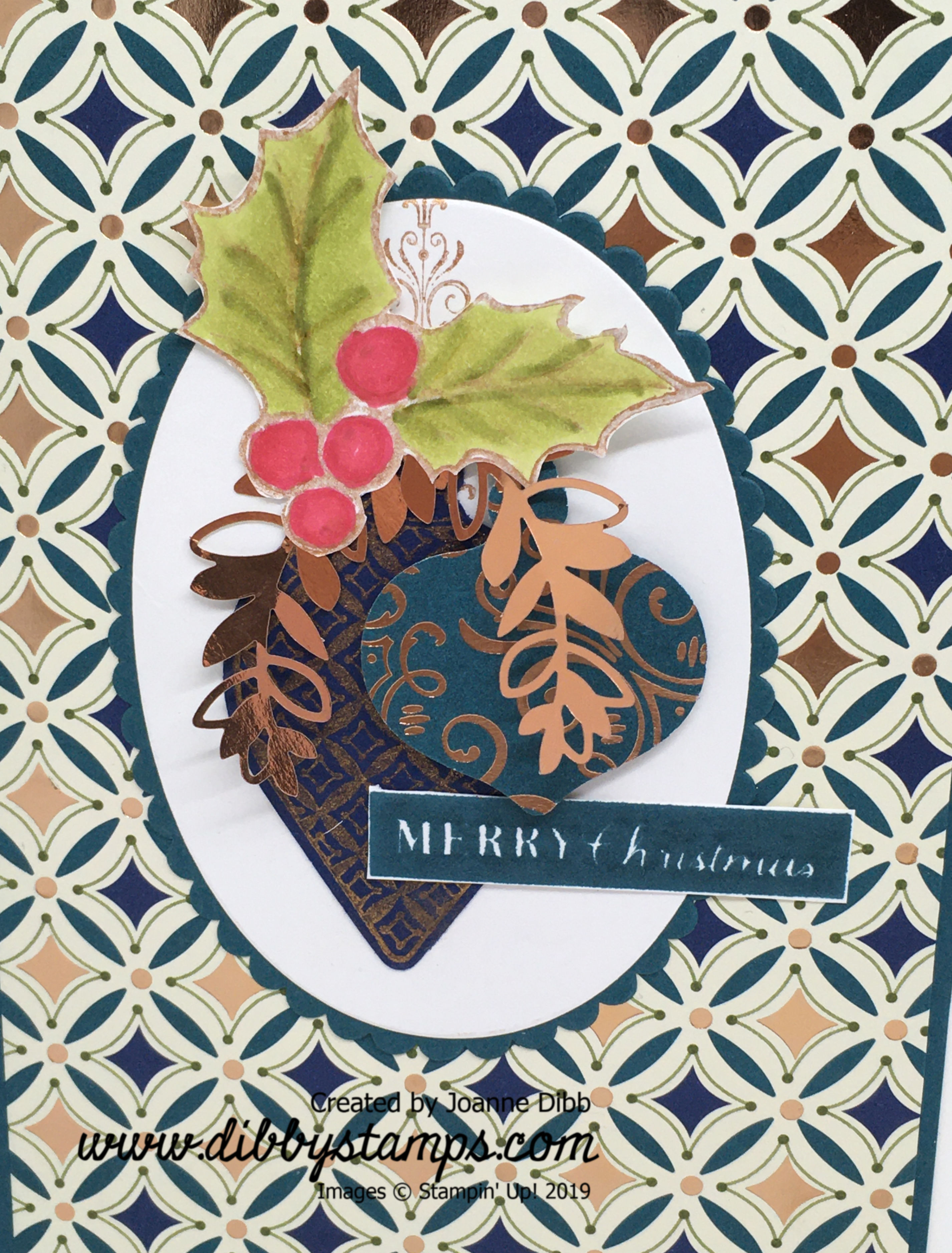 Christmas Baubles Card - close up