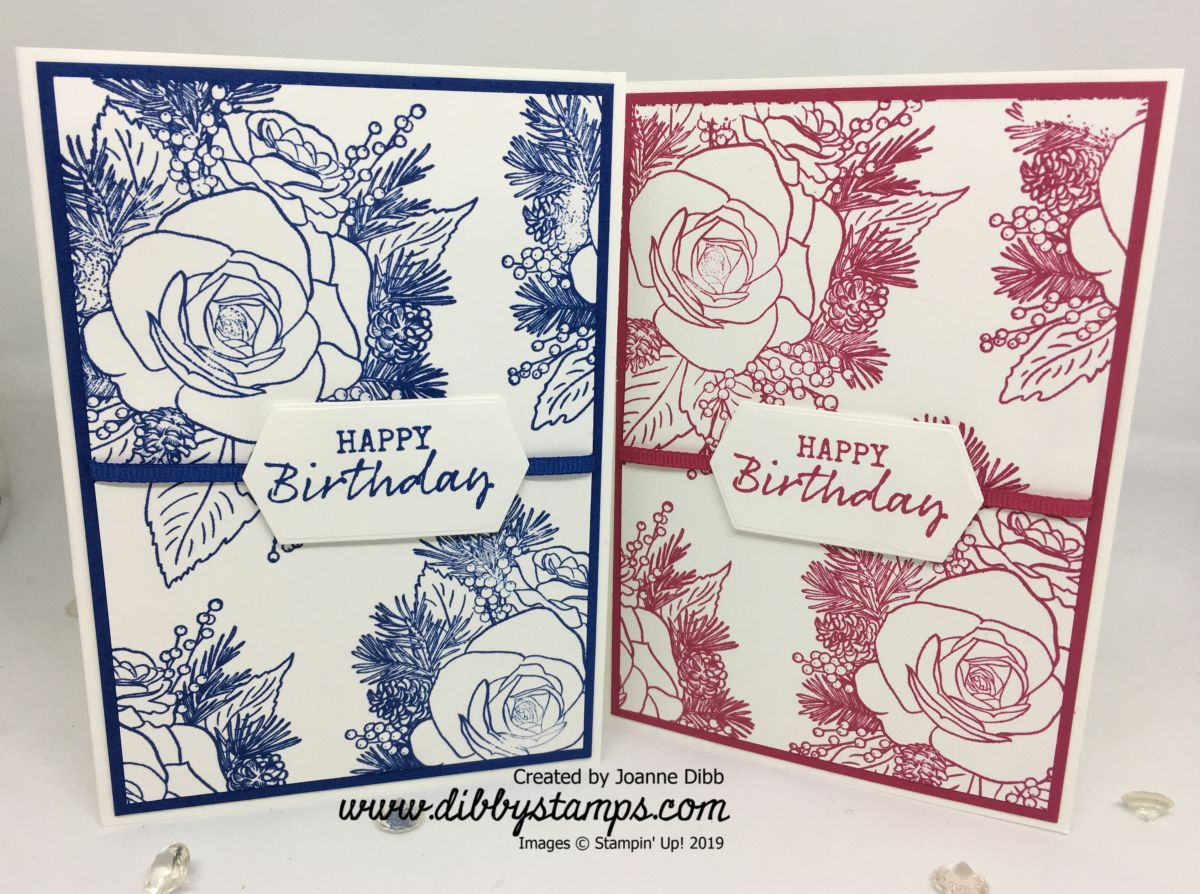 Christmas Rose Birthday Card Duo