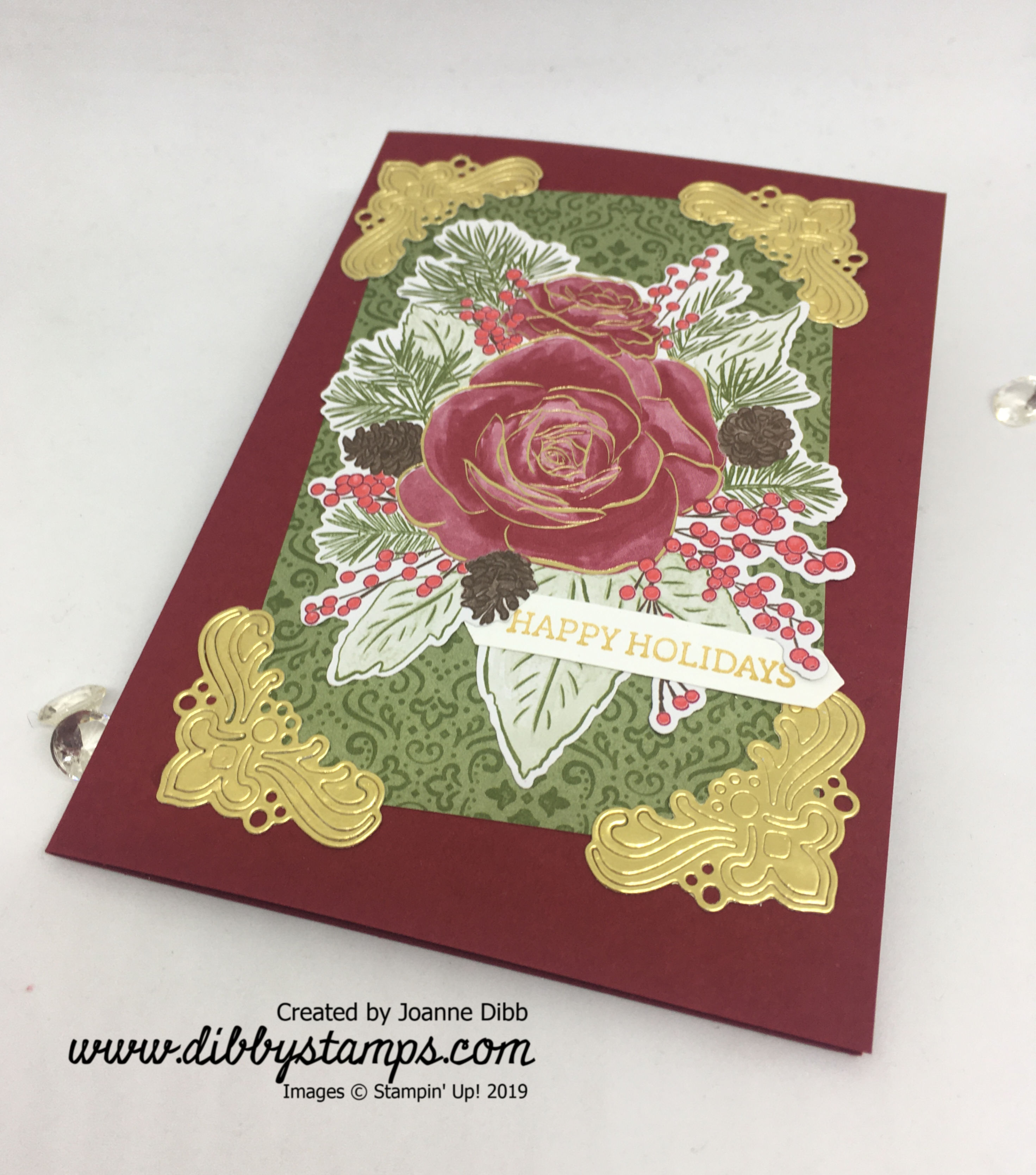 Christmastime Rose Card - flat