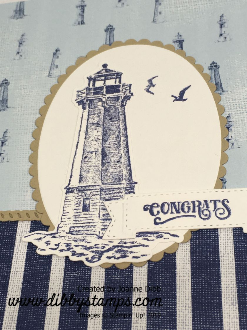 Congrats Lighthouse Card - close up