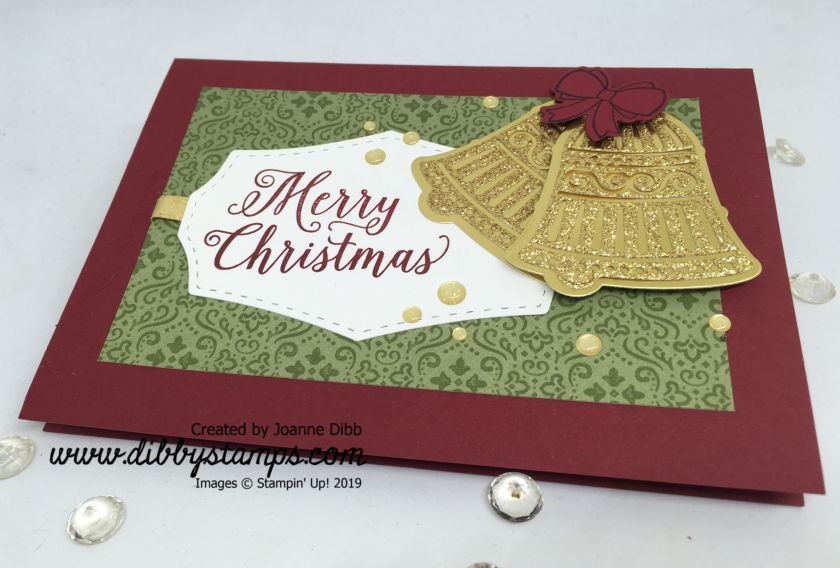 Gold Christmas Bells Card - flat