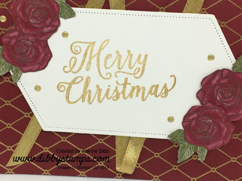 Roses & Ribbon Christmas card - close up
