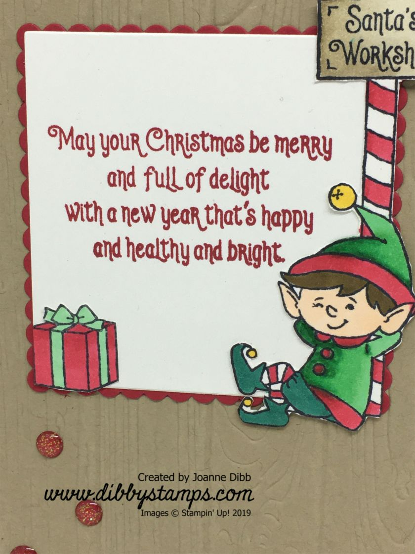 Santa's Workshop Elf Card - close up