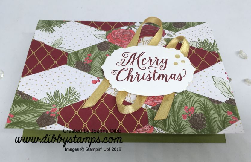 Tailored Tag Patchwork Background Christmas Card