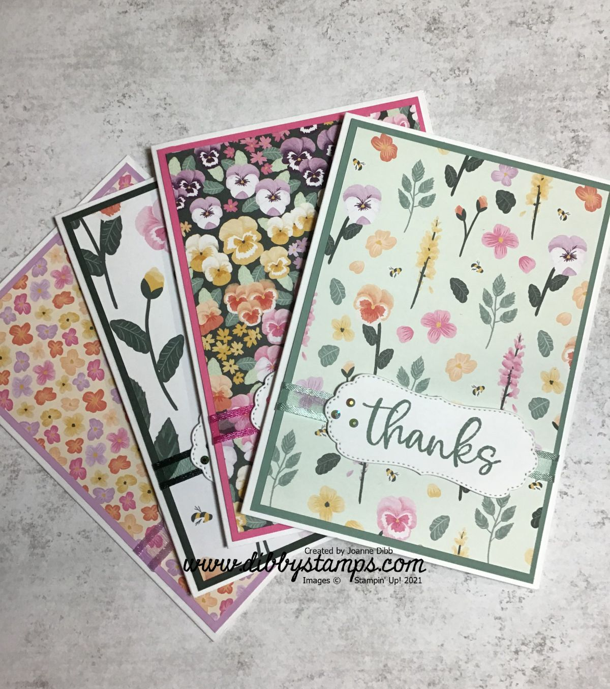 Thanks Card with Pansy Petal DesignerPaper